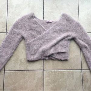 Cropped forever 21 fuzzy sweater